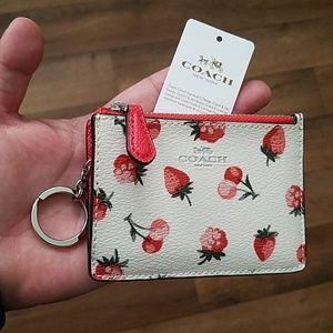 Coach Mini Skinny ID Case F23676 Fruit Print NWT